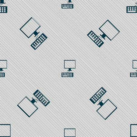 input device: Computer monitor and keyboard Icon. Seamless pattern with geometric texture. Vector illustration