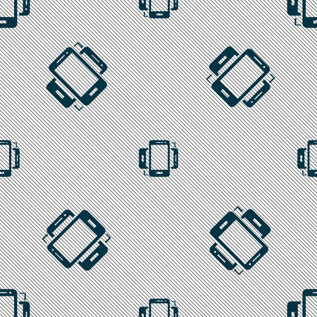 synchronization: Synchronization sign icon. smartphones sync symbol. Data exchange. Seamless pattern with geometric texture. Vector illustration