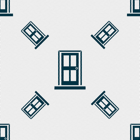 doorknob: Door icon sign. Seamless pattern with geometric texture. Vector illustration Illustration