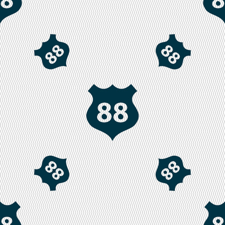 highway icon: Route 88 highway icon sign. Seamless pattern with geometric texture. Vector illustration