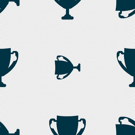 awarding: Winner cup sign icon. Awarding of winners symbol. Trophy. Seamless abstract background with geometric shapes. Vector illustration
