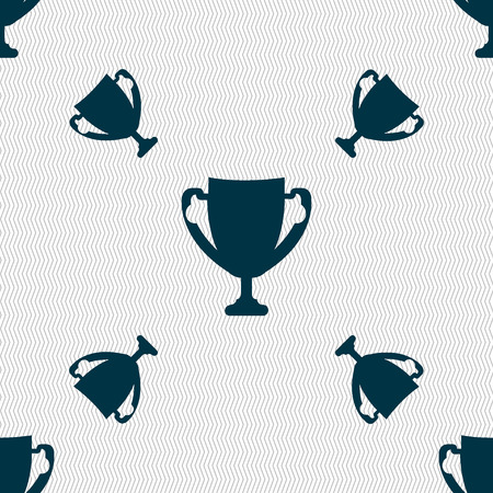 awarding: Winner cup sign icon. Awarding of winners symbol. Trophy. Seamless pattern with geometric texture. Vector illustration
