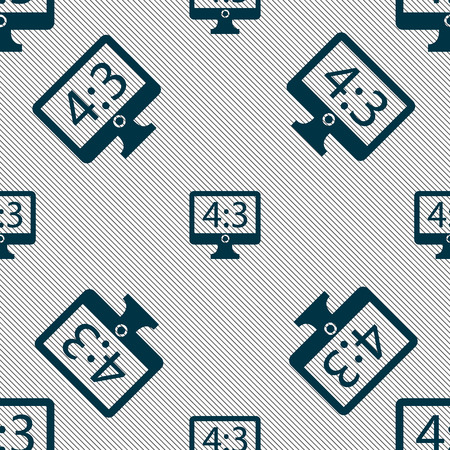 the ratio: Aspect ratio 4 3 widescreen tv icon sign. Seamless pattern with geometric texture. Vector illustration Illustration