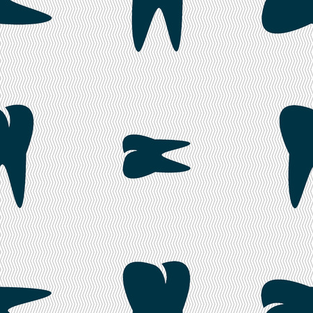 cavity braces: tooth icon. Seamless abstract background with geometric shapes. Vector illustration