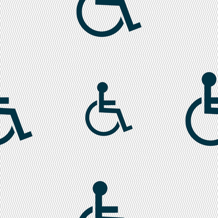 handicapped: Disabled sign icon. Human on wheelchair symbol. Handicapped invalid sign. Seamless abstract background with geometric shapes. Vector illustration