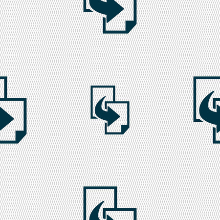 replicate: Copy file sign icon. Duplicate document symbol. Seamless abstract background with geometric shapes. Vector illustration