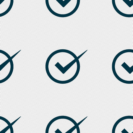 check mark sign: Check mark sign icon. Checkbox button. Seamless abstract background with geometric shapes. Vector illustration