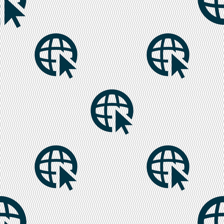 world wide: Internet sign icon. World wide web symbol. Cursor pointer. Seamless abstract background with geometric shapes. Vector illustration