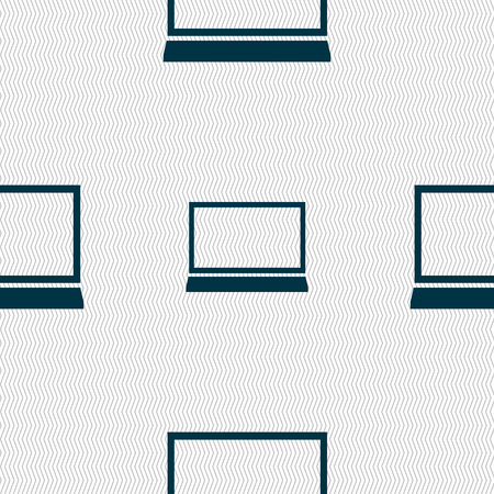 ultrabook: Laptop sign icon. Notebook pc symbol. Seamless abstract background with geometric shapes. Vector illustration