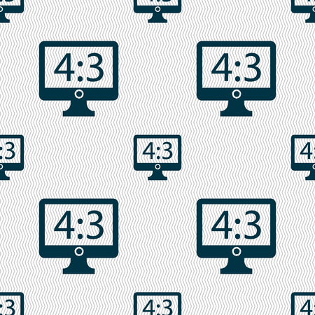 the ratio: Aspect ratio 4 3 widescreen tv icon sign. Seamless abstract background with geometric shapes. Vector illustration