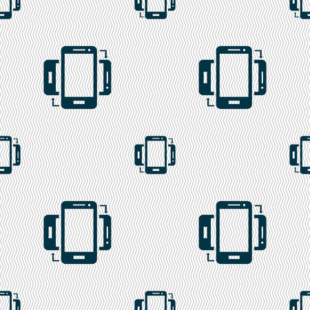 data synchronization: Synchronization sign icon. smartphones sync symbol. Data exchange. Seamless abstract background with geometric shapes. Vector illustration