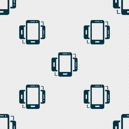 sync: Synchronization sign icon. smartphones sync symbol. Data exchange. Seamless abstract background with geometric shapes. Vector illustration