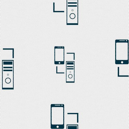 synchronization: Synchronization sign icon. communicators sync symbol. Data exchange. Seamless abstract background with geometric shapes. Vector illustration