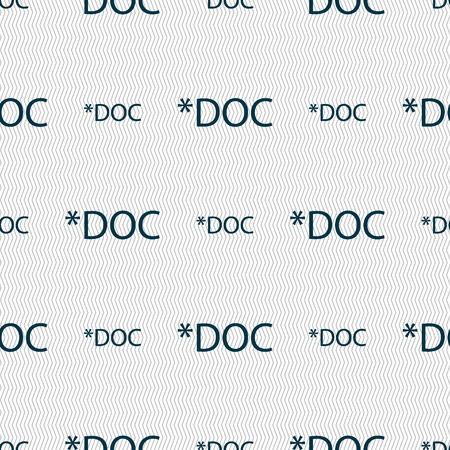doc: File document icon. Download doc button. Doc file extension symbol. Seamless abstract background with geometric shapes. Vector illustration