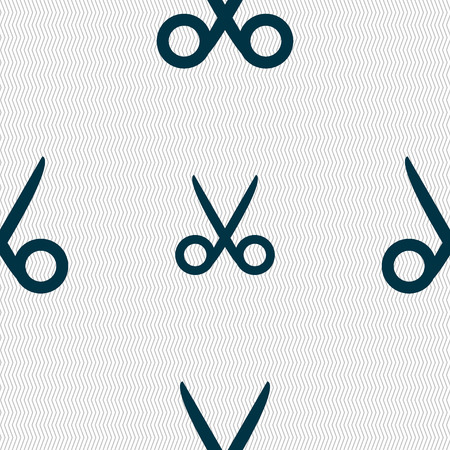 disclosed: Scissors hairdresser sign icon. Tailor symbol. Seamless abstract background with geometric shapes. Vector illustration