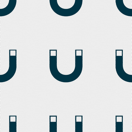 magnet sign icon. horseshoe it symbol. Repair sig. Seamless abstract background with geometric shapes. Vector illustration