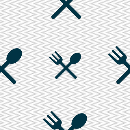 crosswise: Fork and spoon crosswise, Cutlery, Eat icon sign. Seamless abstract background with geometric shapes. Vector illustration