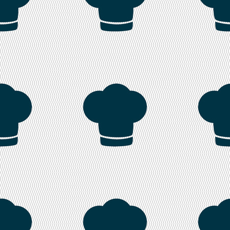 restaurant icons: Chef hat sign icon. Cooking symbol. Cooks hat. Seamless abstract background with geometric shapes. Vector illustration Illustration