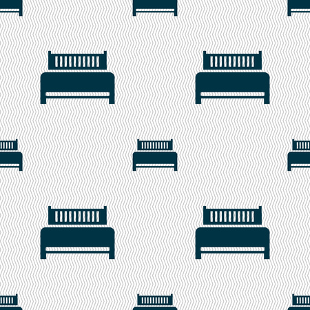 hotel bed: Hotel, bed icon sign. Seamless abstract background with geometric shapes. Vector illustration