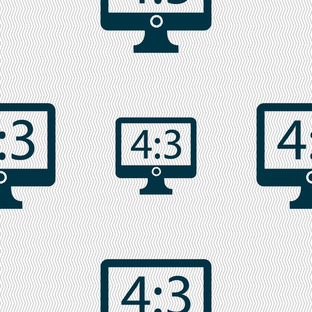 4 3 display: Aspect ratio 4 3 widescreen tv icon sign. Seamless abstract background with geometric shapes. Vector illustration