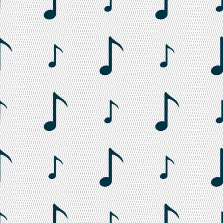 sign simplicity: Music note icon sign. Seamless abstract background with geometric shapes. Vector illustration