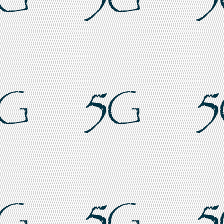 telecommunications technology: 5G sign icon. Mobile telecommunications technology symbol. Seamless abstract background with geometric shapes. Vector illustration Illustration