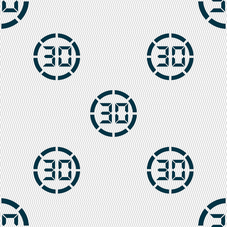 interval: 30 second stopwatch icon sign. Seamless abstract background with geometric shapes. Vector illustration Illustration