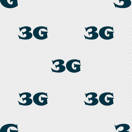 3g: 3G sign icon. Mobile telecommunications technology symbol. Seamless abstract background with geometric shapes. Vector illustration