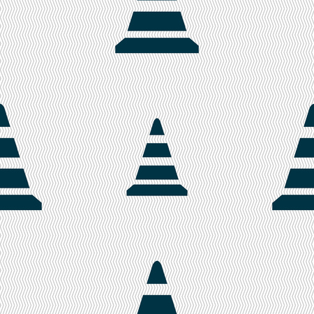traffic pylon: road cone icon. Seamless abstract background with geometric shapes. Vector illustration