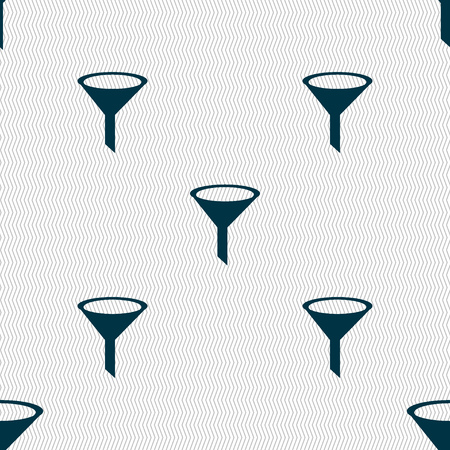 filtering: Funnel icon sign. Seamless abstract background with geometric shapes. Vector illustration Illustration
