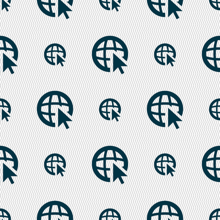 world wide web: Internet sign icon. World wide web symbol. Cursor pointer. Seamless abstract background with geometric shapes. Vector illustration