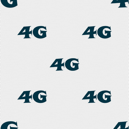 telecommunications technology: 4G sign icon. Mobile telecommunications technology symbol. Seamless abstract background with geometric shapes. Vector illustration Illustration