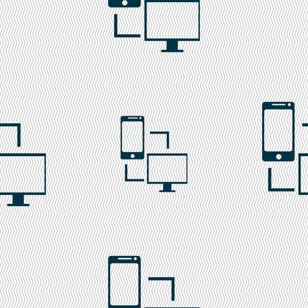 data synchronization: Synchronization sign icon. communicators sync symbol. Data exchange. Seamless abstract background with geometric shapes. Vector illustration