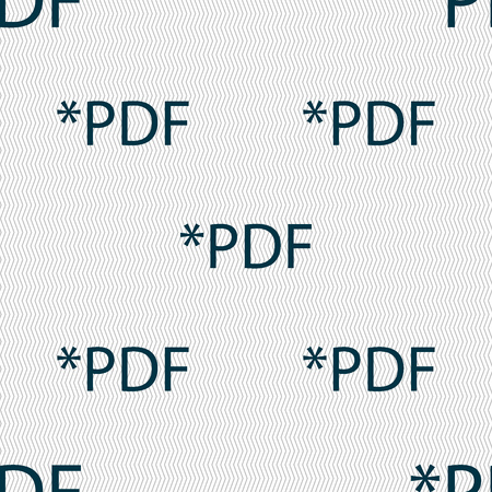 file extension: PDF file document icon. Download pdf button. PDF file extension symbol. Seamless abstract background with geometric shapes. Vector illustration Illustration