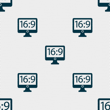 aspect: Aspect ratio 16:9 widescreen tv icon sign. Seamless abstract background with geometric shapes. Vector illustration