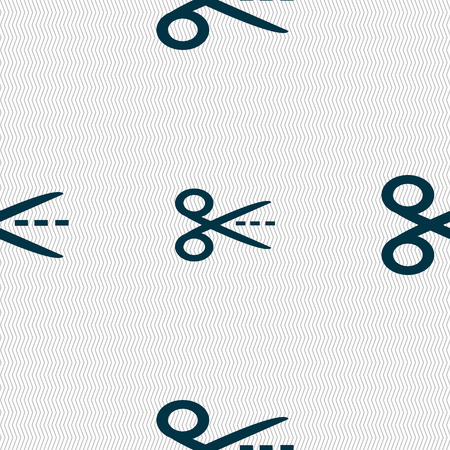 Scissors with cut dash dotted line sign icon. Tailor symbol. Seamless abstract background with geometric shapes. Vector illustration