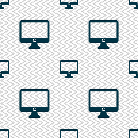 widescreen: Computer widescreen monitor sign icon. Seamless abstract background with geometric shapes. Vector illustration Illustration