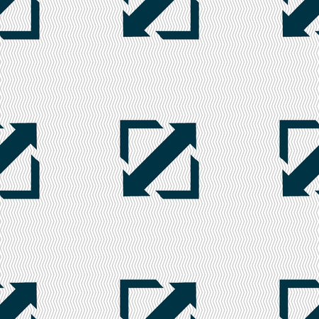 maximize: Deploying video, screen size icon sign. Seamless abstract background with geometric shapes. Vector illustration