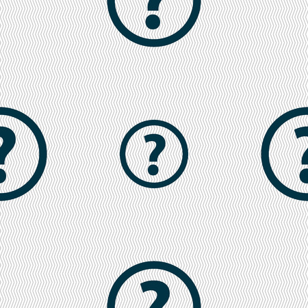 quality questions: Question mark sign icon. Help speech bubble symbol. FAQ sign. Seamless abstract background with geometric shapes. Vector illustration