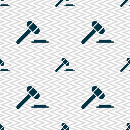 arbitrate: judge hammer icon. Seamless abstract background with geometric shapes. Vector illustration