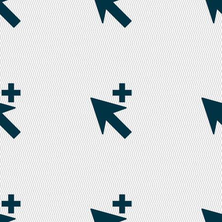 add icon: Cursor, arrow plus, add icon sign. Seamless abstract background with geometric shapes. Vector illustration