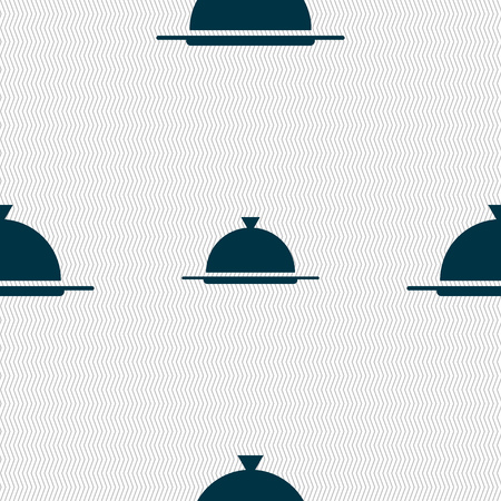 table setting: Food platter serving sign icon. Table setting in restaurant symbol. Seamless abstract background with geometric shapes. Vector illustration