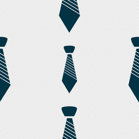 official wear: Tie sign icon. Business clothes symbol. Seamless abstract background with geometric shapes. Vector illustration