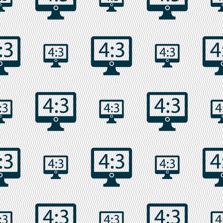 widescreen: Aspect ratio 4 3 widescreen tv icon sign. Seamless abstract background with geometric shapes. Vector illustration