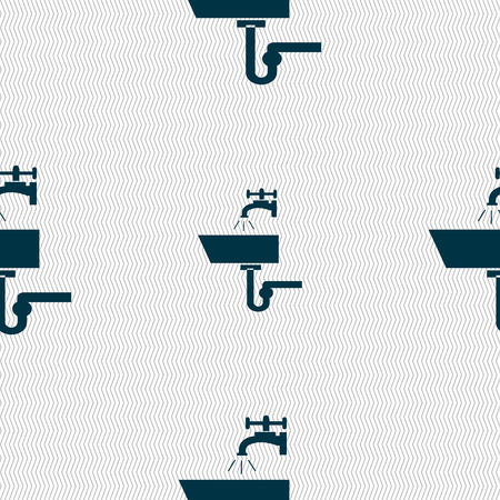 Washbasin icon sign. Seamless abstract background with geometric shapes. Vector illustration Illustration