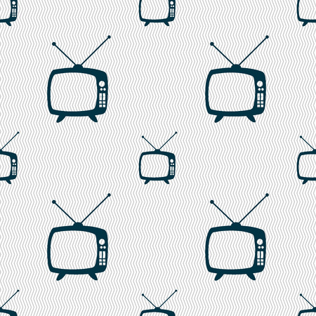 television set: Retro TV mode sign icon. Television set symbol. Seamless abstract background with geometric shapes. Vector illustration
