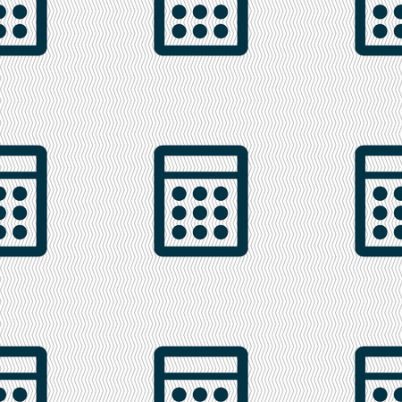 calc: Calculator sign icon. Bookkeeping symbol. Seamless abstract background with geometric shapes. Vector illustration