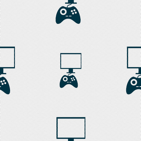 quality controller: Joystick and monitor sign icon. Video game symbol. Seamless abstract background with geometric shapes. Vector illustration