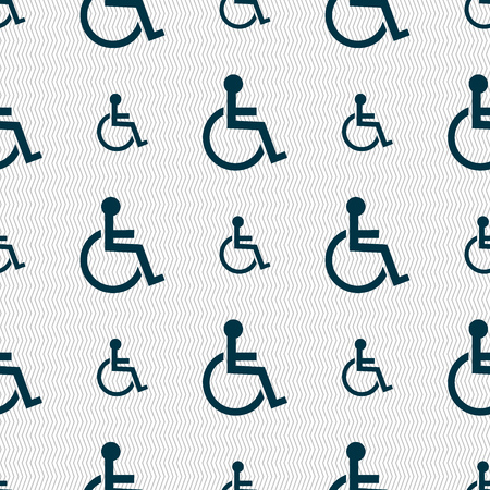 invalid: Disabled sign icon. Human on wheelchair symbol. Handicapped invalid sign. Seamless abstract background with geometric shapes. Vector illustration