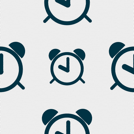 wake up call: Alarm clock sign icon. Wake up alarm symbol. Seamless abstract background with geometric shapes. Vector illustration Illustration